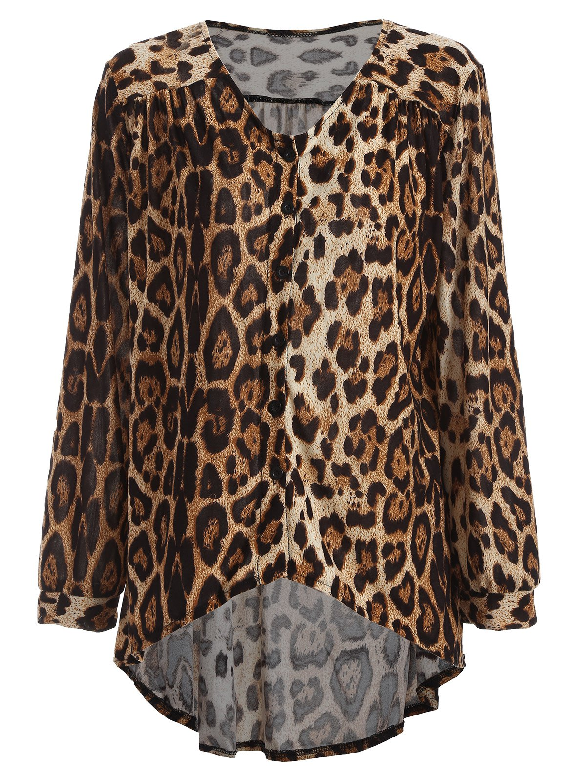 High-Low Leopard Loose BlouseWomen<br><br><br>Size: ONE SIZE<br>Color: BROWN
