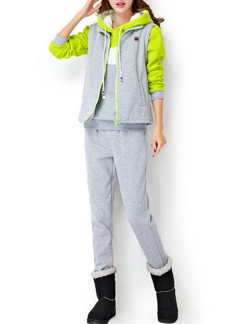Fleece Hoodie and Vest With Track Pants SetWomen<br><br><br>Size: 2XL<br>Color: LIGHT GRAY