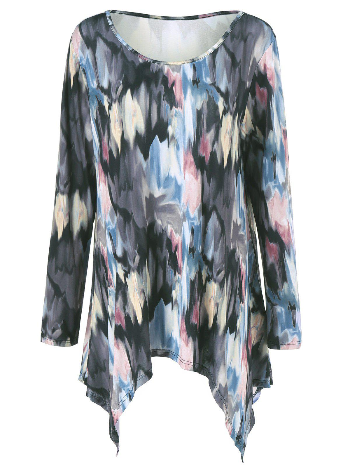 Plus Size Tie-Dye Asymmetrical Tee plus graphic print tie dye tee