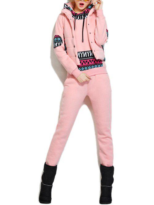 Fleece Pocket Hoodie et Vest Avec Track Pants Set - Rose M