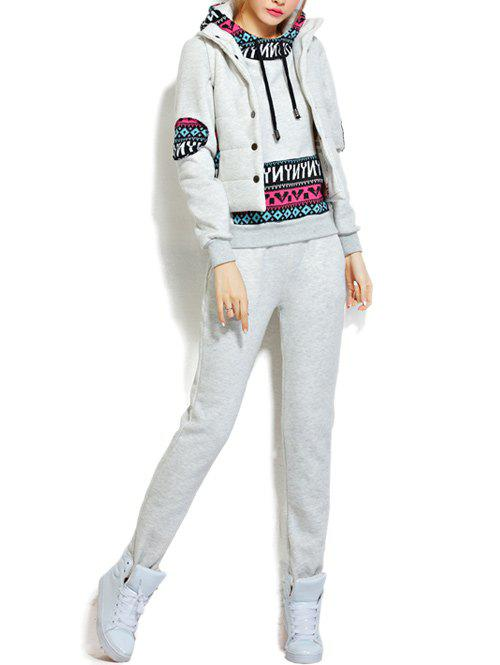 Fleece Pocket Hoodie and Vest With Track Pants Set - WHITE GREY L