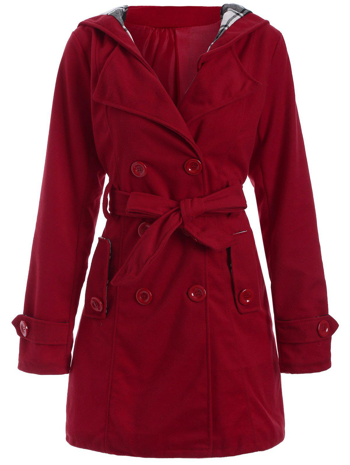 Long Hooded Wool Trench Coat, RED, XL in Jackets & Coats ...