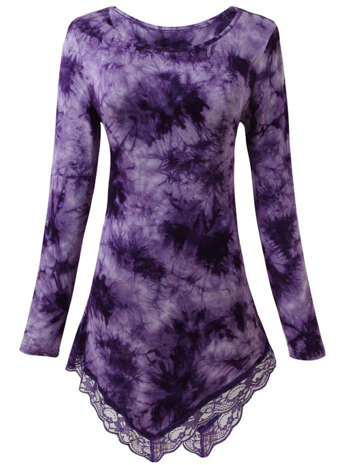 Lace Insert Tie Dyed Asymmetric Top - PURPLE M