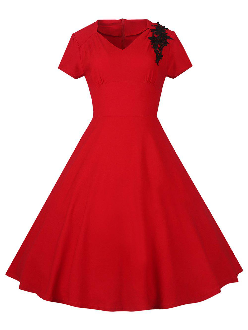 Lace Embroidered Insert 1940S Cocktail Swing Dress - RED L