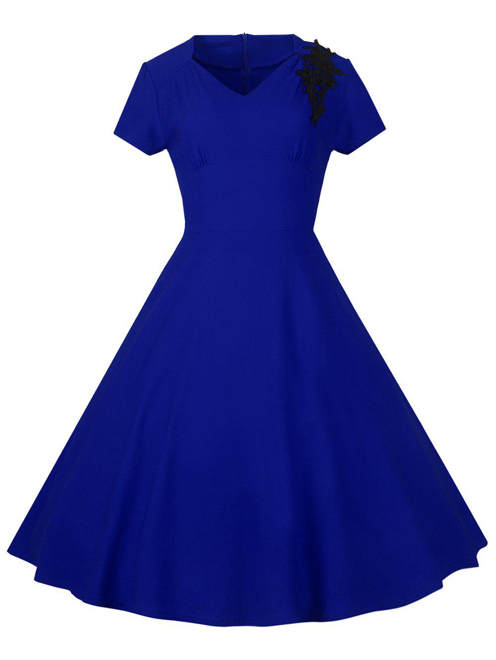 Lace Embroidered Insert 1940S Cocktail Swing Dress - ROYAL BLUE M