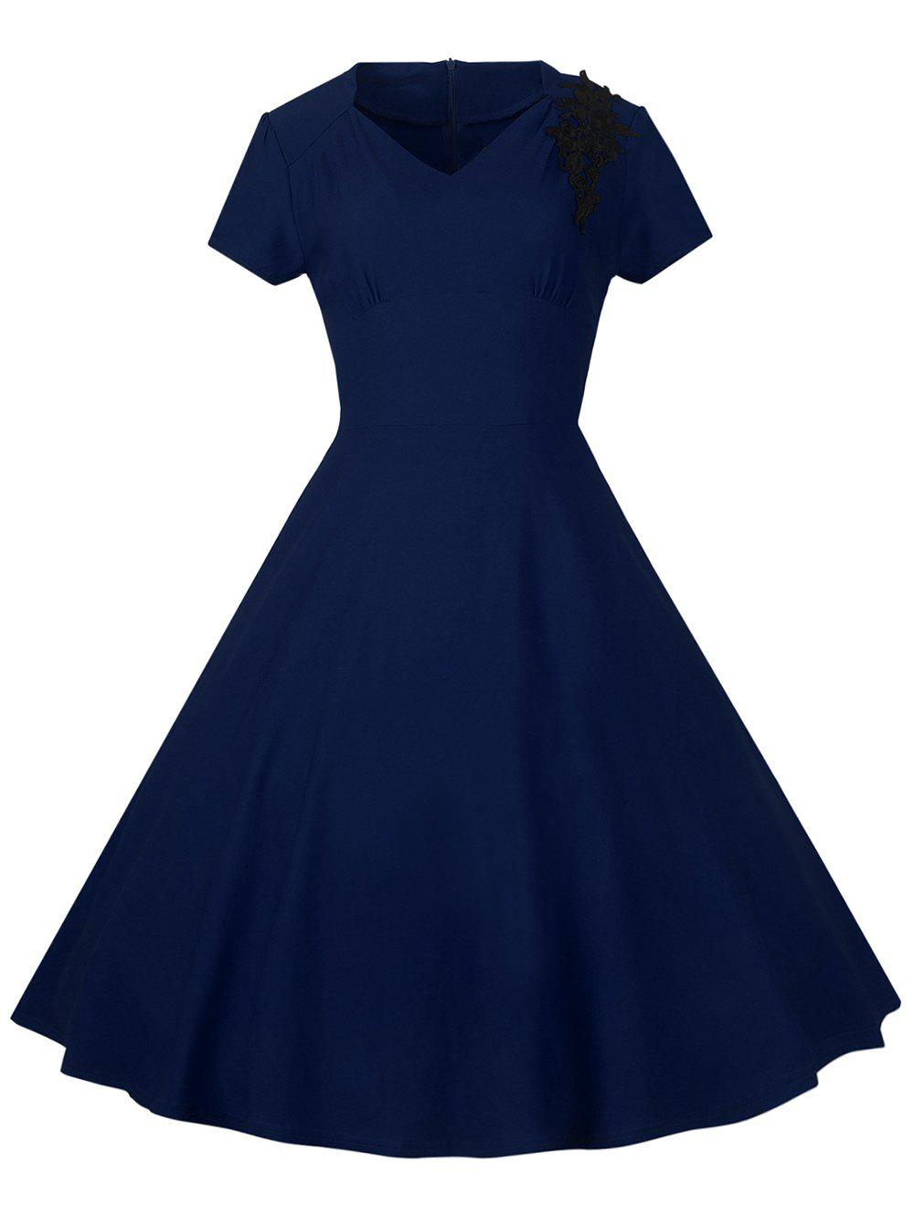 Lace Embroidered Insert Swing DressWomen<br><br><br>Size: S<br>Color: PURPLISH BLUE