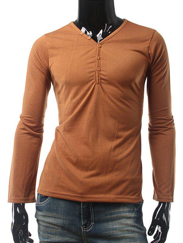 Slim Fit Button Up V Neck Long Sleeve Tee slim fit v neck long sleeve tee