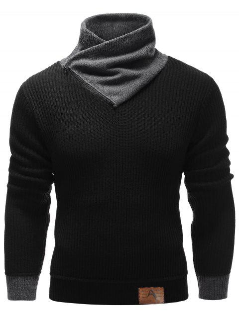 Ribbed Zip Up High Neck Pullover Sweater - BLACK XL
