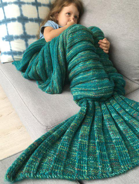 Good Quality Warm Kintted Wrap Mermaid Tail Blanket For Kids - GREEN M