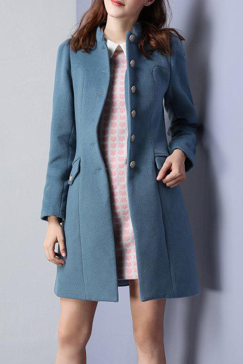 Single Breasted Waisted Coat - STONE BLUE XL