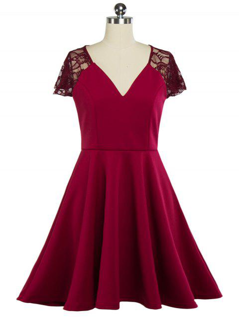 Plunging Neck Lace Panel Swing Skater Dress - Vin rouge XL