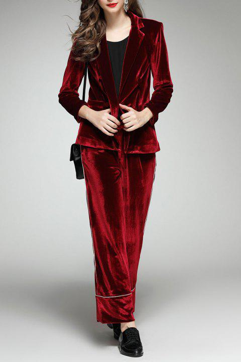 Double Breasted Velour Blazer and Wide Leg Pants - DEEP RED S