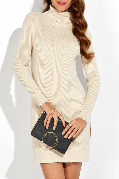 Turtleneck Ribbed Knitted Dress - APRICOT ONE SIZE