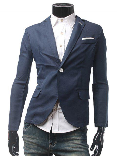 Simple Bouton Breasted Pocket Trou Casual Blazer - Cadetblue XL