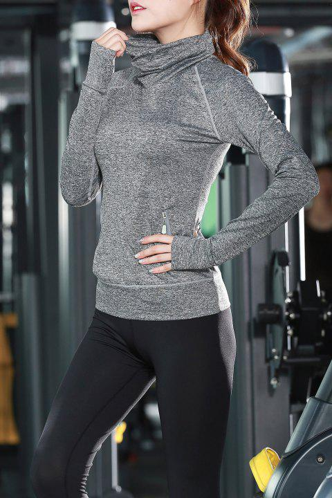 Turtle Neck Long Sleeve Sports Top - GRAY XL