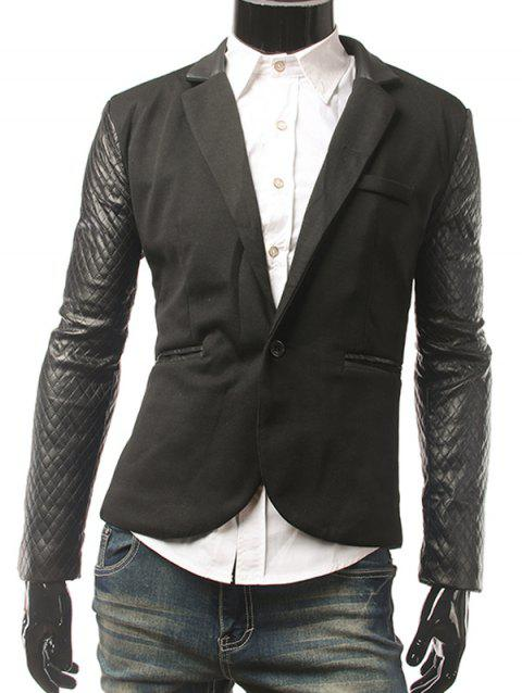 Lapel Single Button PU Insert Blazer - BLACK M