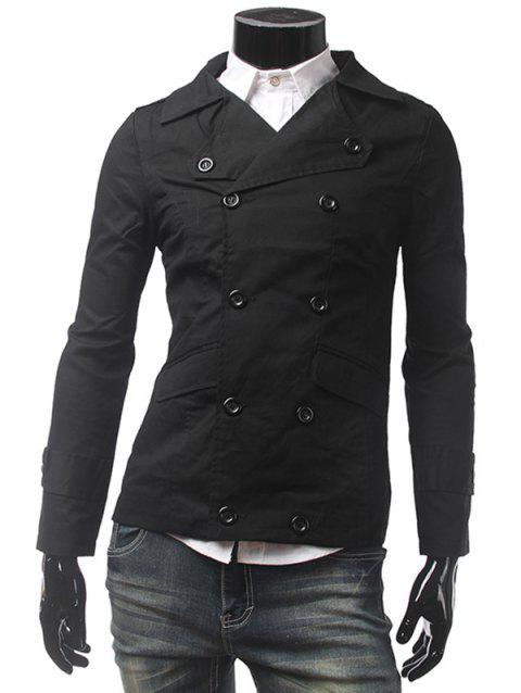Bouton Pocket Tab Cuff double breasted Jacket - Noir 2XL