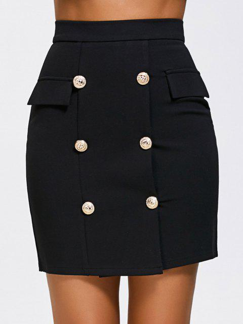 High Waist Double Breasted Zip Skirt - BLACK S