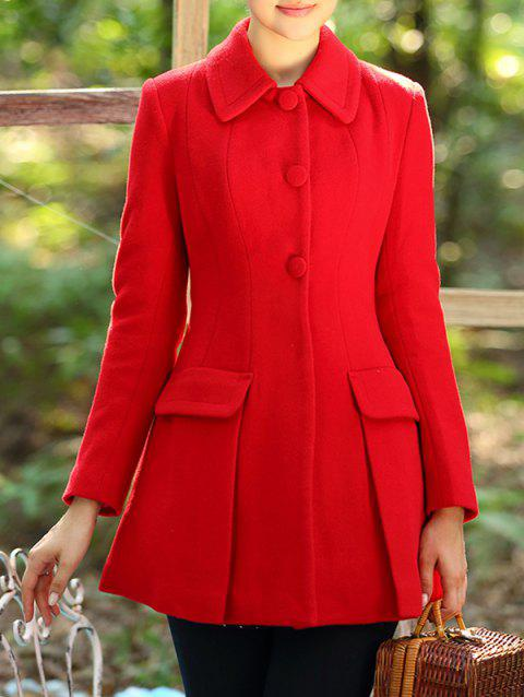 Manteau long amincissant en laine - Rouge L