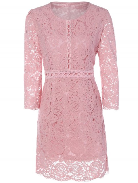 Hollow Out A Line Lace Dress - PINK XL