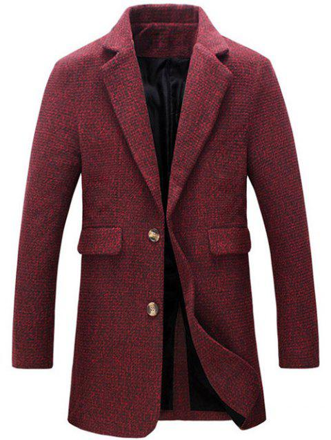 Cotton Blends Turndown Collar Single Breasted Woolen Coat - RED 2XL