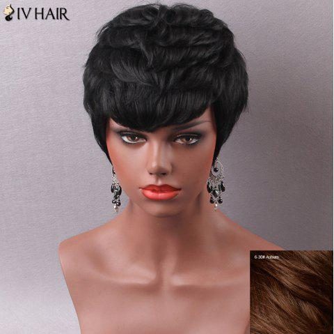 Manly Short Side Bang Human Hair Capless Wig For Women - AUBURN