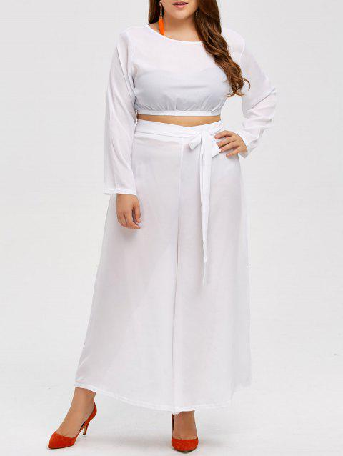 d52dce91c17 2019 Plus Size Cropped Top and Chiffon Palazzo Pants In WHITE L ...