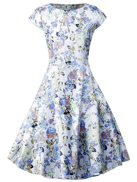 Vintage Blossom Print Swing Dress - FLORAL M