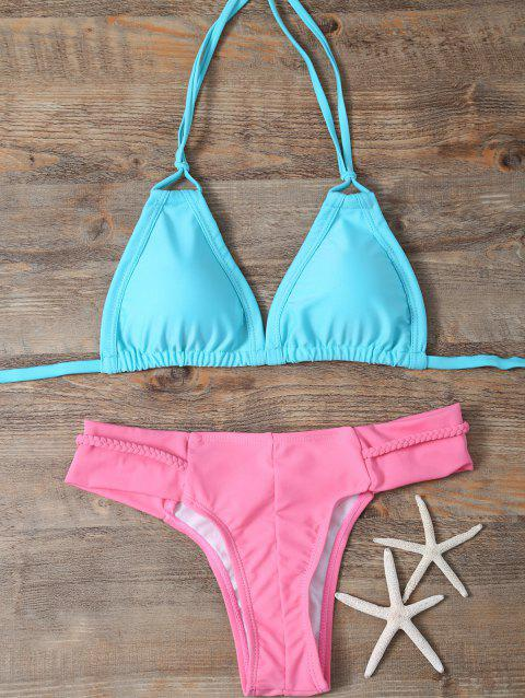 Halter Padded Mix Match Braided Bikini Set - LAKE GREEN L