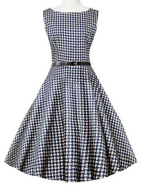 Sleeveless Plaid Swing Dress - BLUE PLAID 2XL