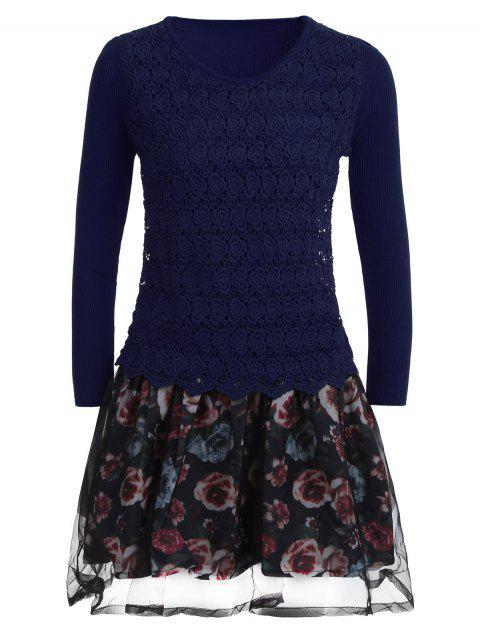 Organza Spliced Floral Layered Sweater Skater Dress - BLUE ONE SIZE