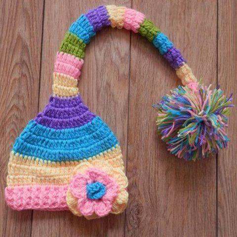 Newborn Crochet Photography Floral Pompom Beanie Hat - COLORFUL S