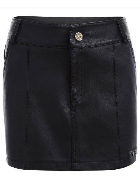 Faux Leather Skirted Shorts - BLACK S