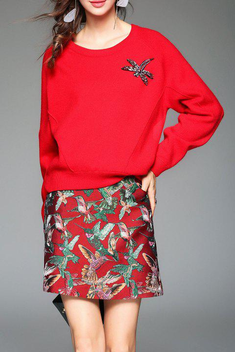 Batwing Sleeve Sweater With Skirt - RED L