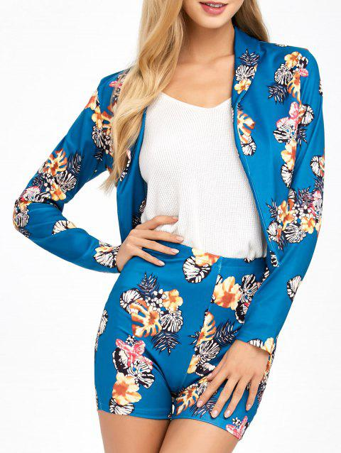 Flower  Suit Jacket With Patterned Shorts - LAKE BLUE L