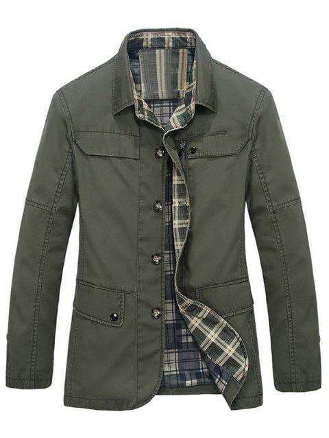 Pocket Plaid Lining Button Up Jacket - ARMY GREEN 3XL