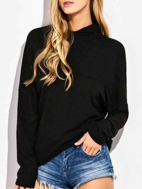 High Neck Batwing Sweater - BLACK XL