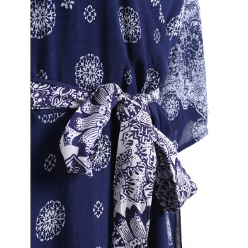 Plus Size Boho Print Flowy Beach Wrap Maxi Dress - DEEP BLUE 5XL