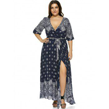 plus size boho print flowy beach wrap maxi dress, deep blue, xl in