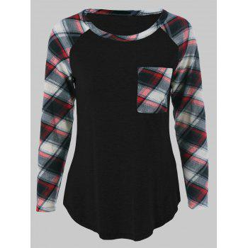 Plus Size One Pocket Plaid Sleeve T-Shirt