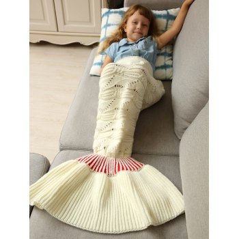 Warm Soft Kintted Mermaid Tail Blanket For Kids - WHITE WHITE