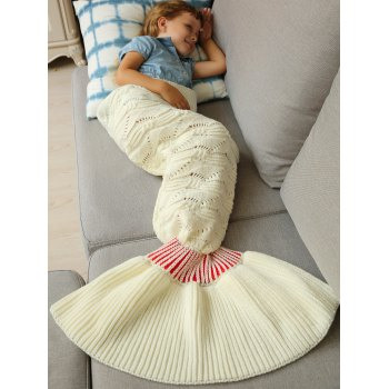 Chaud Doux kintted Mermaid Tail Blanket For Kids - Blanc S