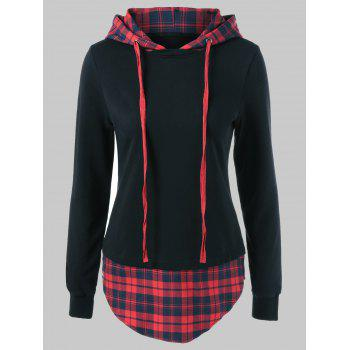 Drawstring Plaid Plus Size Hoodie