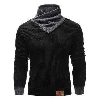 Buy Ribbed Zip High Neck Pullover Sweater BLACK
