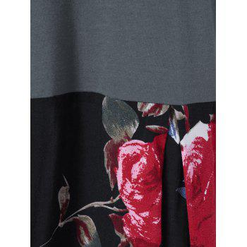 Floral Patchwork High Low T-Shirt - BLACK/GREY XL