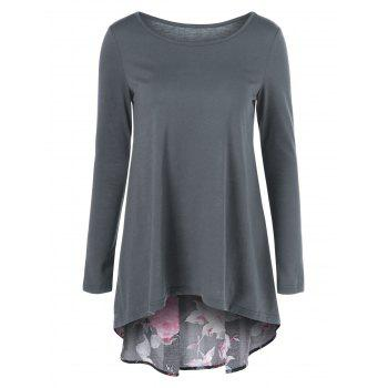 Floral Patchwork High Low T-Shirt - BLACK AND GREY BLACK/GREY