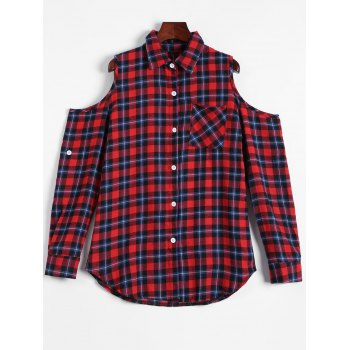 Casual Cold Shoulder Check Plaid Shirt