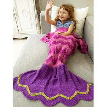 Winter Warmth Wavy Design Knitted Bedding Fish Tail Blanket - ROSE RED