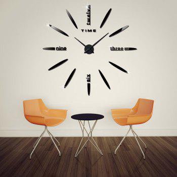 Buy Large Size DIY 3D Home Decoration Mirror Clocks Wall Stickers BLACK