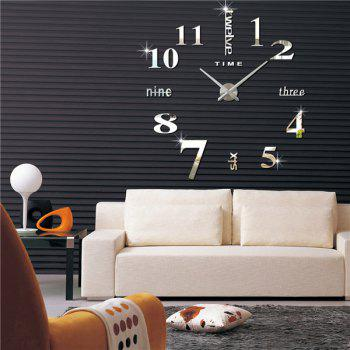 Buy DIY 3D Mirror Digital Clocks Wall Stickers SILVER